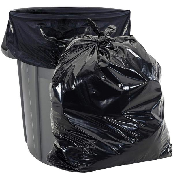 Aluf Plastics 22 In X 58 In 1 5 Mil 55 Gal Black Low Density Heavy Duty Trash Bags 100 Per Case Pg6 6051 The Home Depot