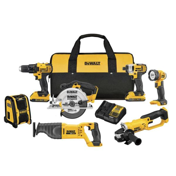 20-Volt MAX Lithium-Ion Cordless Drill/Driver Combo Kit (7-Tool) with (2) 20-Volt Batteries 2.0Ah, Charger and Tool Bag