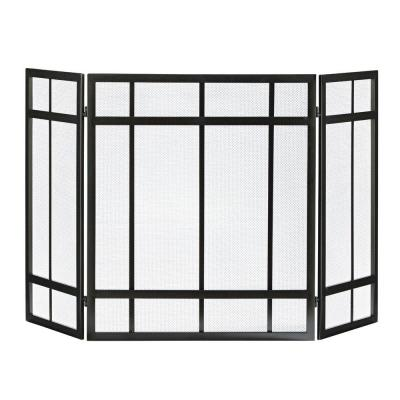 Mission Style 3-Panel Fireplace Screen