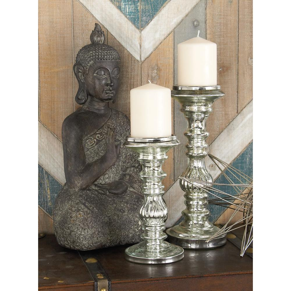 Silver Glass Candle Holders (Set of 2)