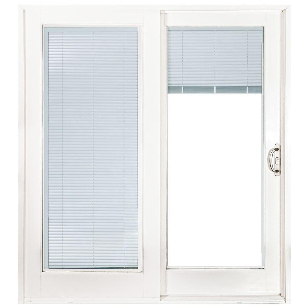 Mp Doors 60 In X 80 Smooth White Right Composite Pg50 Sliding Patio Door With Low E Built Blinds