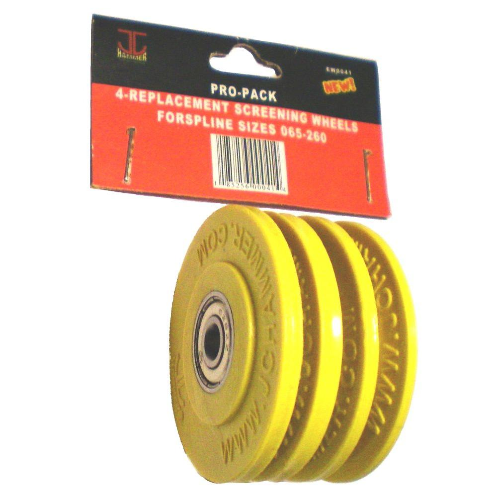 2 in. Screening Wheels Pro Pack 4-Replacement Wheels for Spline Sizes
