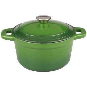 Click here to buy BergHOFF Neo 7 Qt. Round Cast Iron Green Casserole Dish with Lid by BergHOFF.