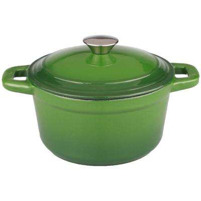 Neo 7 Qt. Round Cast Iron Green Casserole Dish with Lid