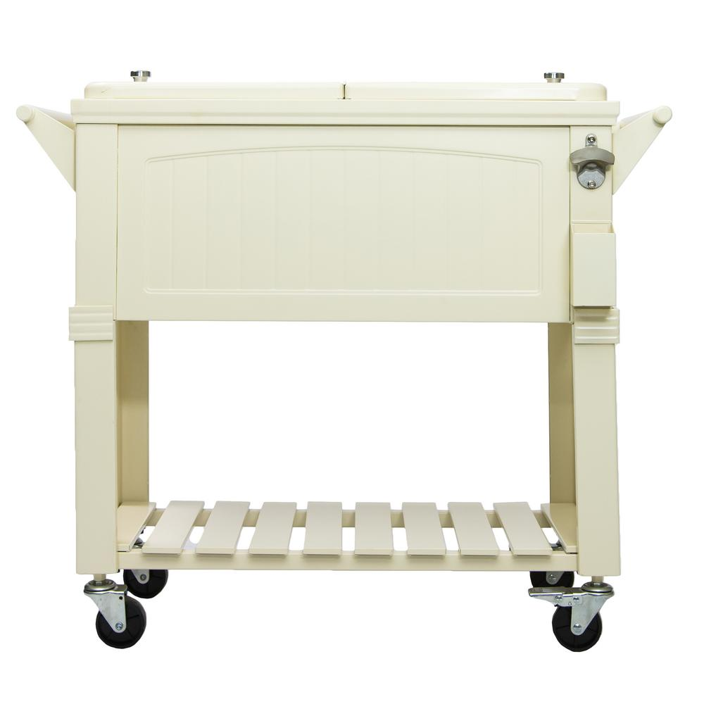 80 Qt. Rolling Patio Cooler Cream Furniture Style