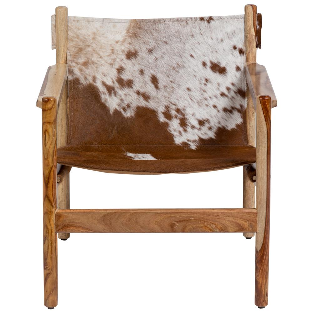 Genoa Cow Hide Leather Sling Chair, Real Cowhide and Natural Sheesham Wood