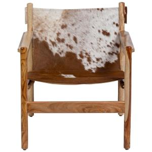 Stupendous Genoa Cow Hide Leather Sling Chair Real Cowhide And Natural Sheesham Wood Uwap Interior Chair Design Uwaporg