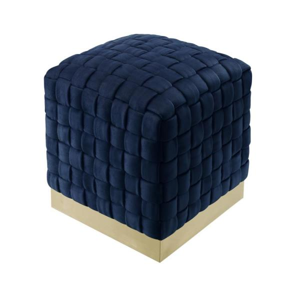 Diamond Navy/Gold Cube Woven Velvet Ottoman