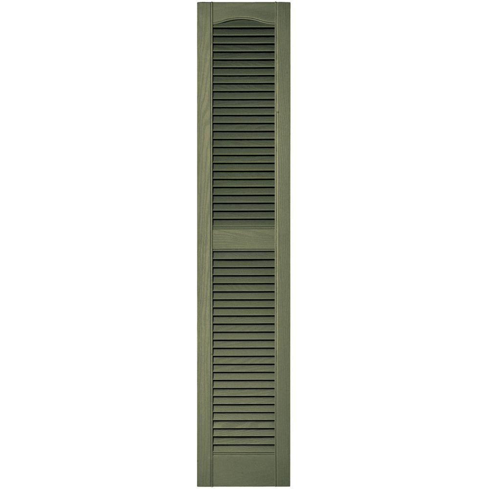 Builders Edge 12 in. x 60 in. Louvered Vinyl Exterior Shutters Pair in #282 Colonial Green