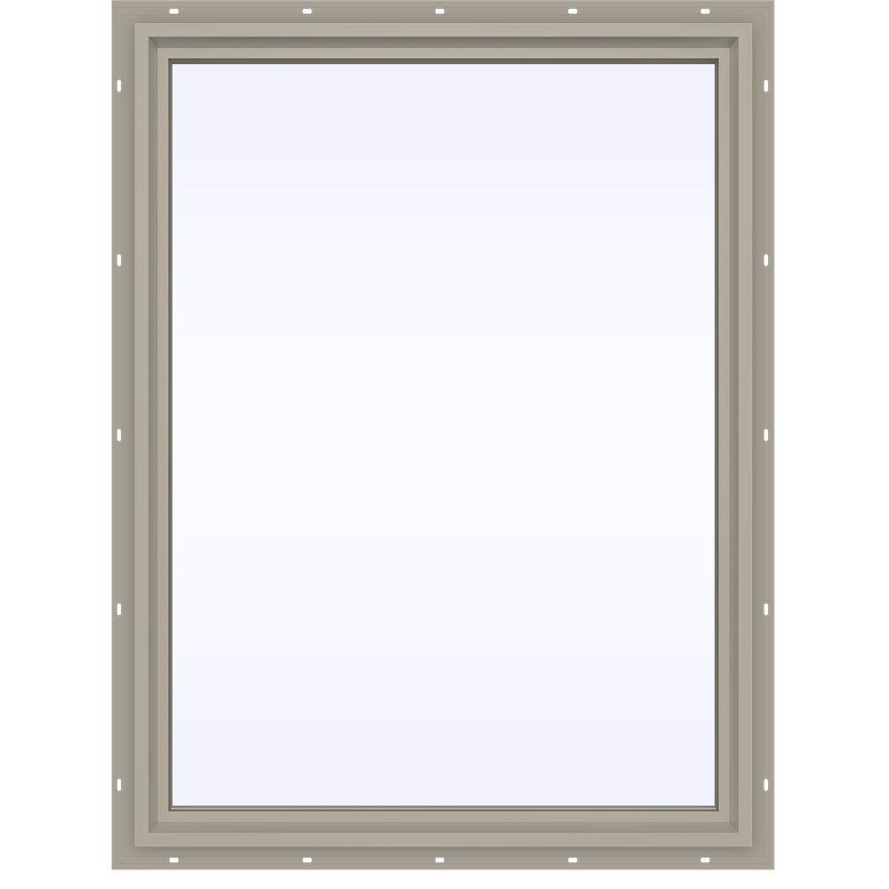 35.5 in. x 47.5 in. V-4500 Series Desert Sand Vinyl Picture Window w/ Low-E 366 Glass