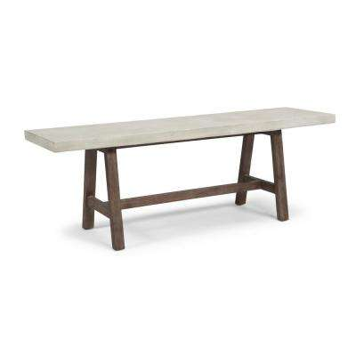 Concrete Chalky White and Brown Chic Trestle Bench