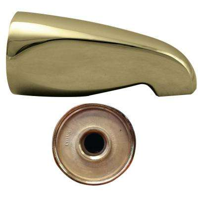 5-1/4 in. L Wall-Mount Tub Spout, Polished Brass