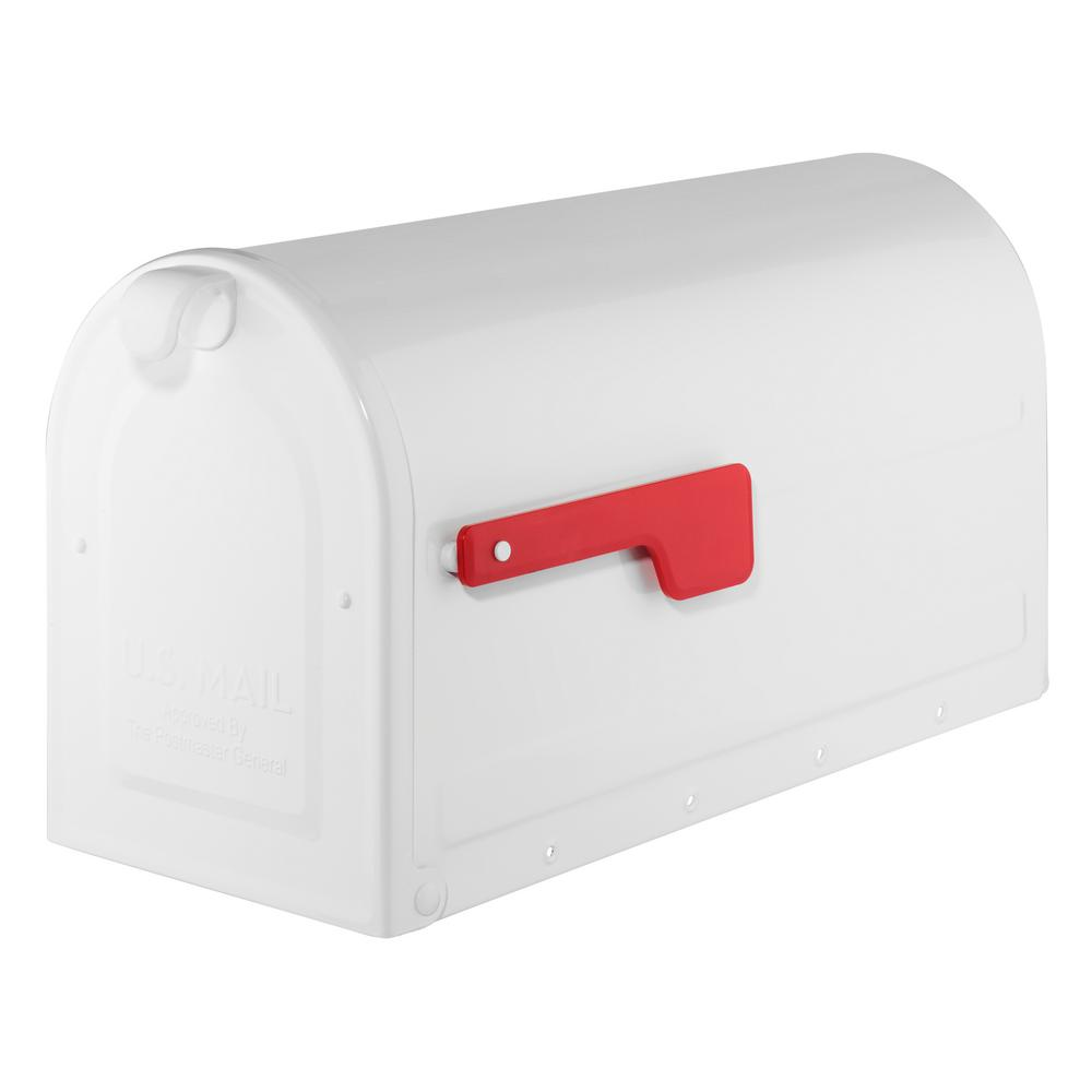 MB2 Post Mount Mailbox White with Red Flag