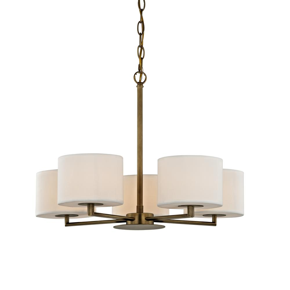 Home Decorators Collection Manhattan 5-Light Aged Brass Chandelier with Cream Colored Shades