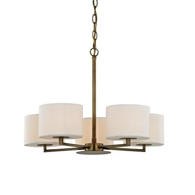 Manhattan 5-Light Aged Brass Chandelier with Cream Colored Shades
