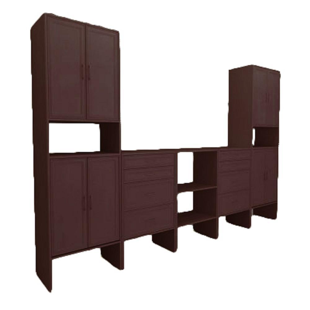 10 ft. 15 in. D x 125.5 in. W x 82.5 in. H Mocha Great Room Wood Closet System
