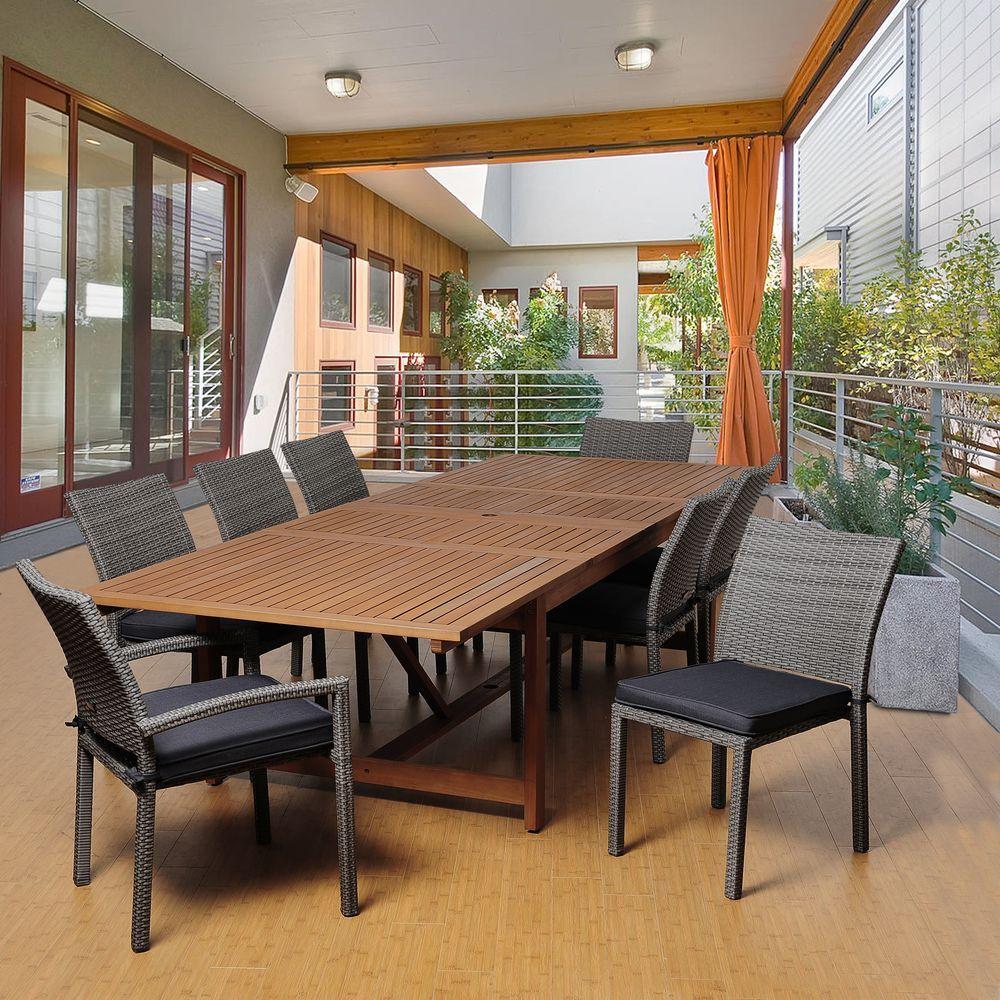 Amazonia Jones 9-Piece Eucalyptus Extendable Rectangular Patio Dining Set with Grey Cushions by Amazonia