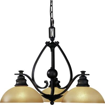 Rainier 3-Light Foundry Bronze Interior Chandelier
