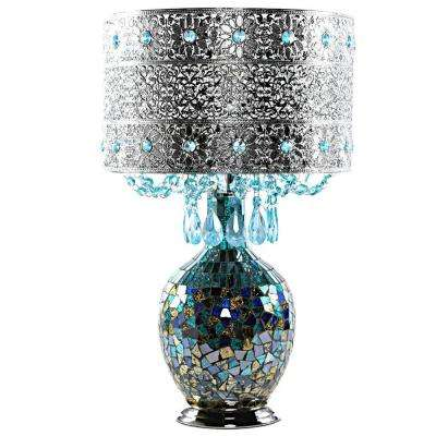Poetic Wanderlust 21.75 in. Turquoise Mosaic Table Lamp with Jeweled Metal Shade