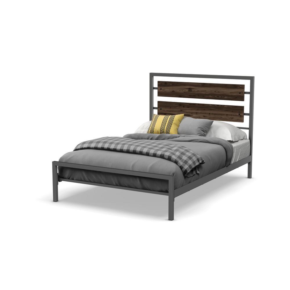 Fargo Matt Dark Grey Metal Grey Wood Queen Size Bed 14393-60/5784