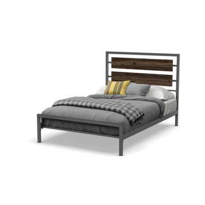 Fargo Matt Dark Grey Metal Grey Wood Queen Size Bed