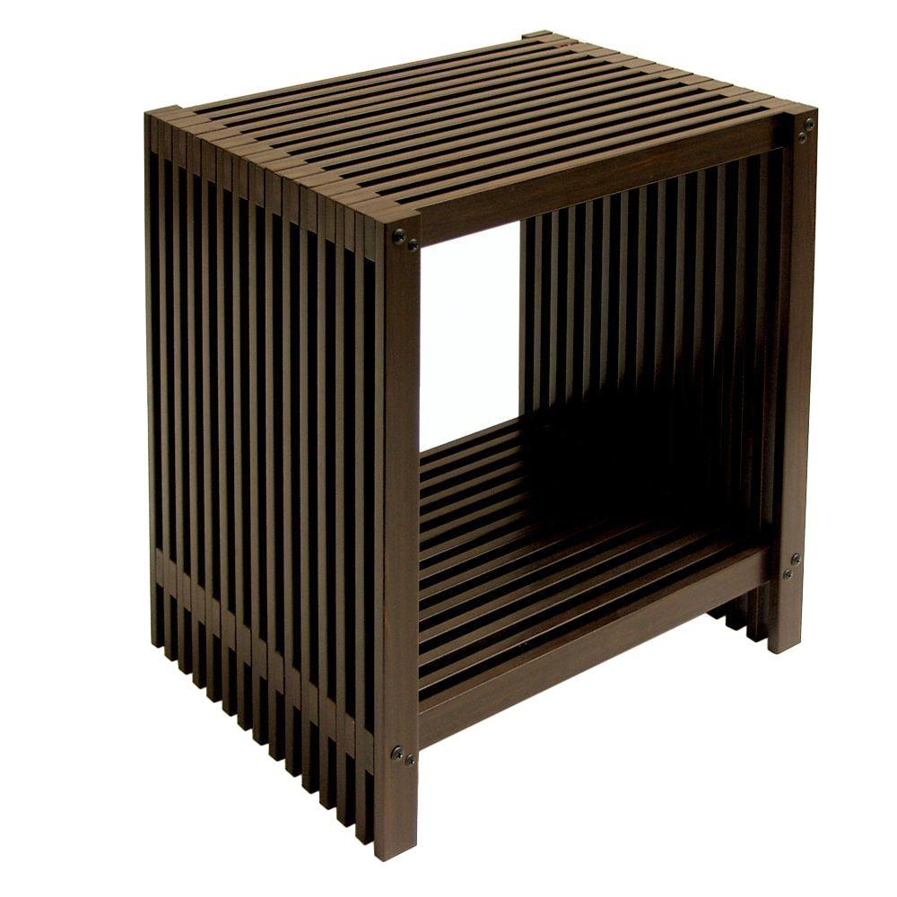 Seville Classics Mocha 2-Tier Storage Tower Shelf