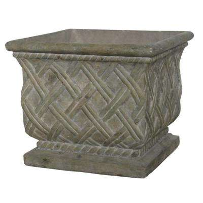 17.75 in. Square Old Stone Cast Stone Lattice Planter