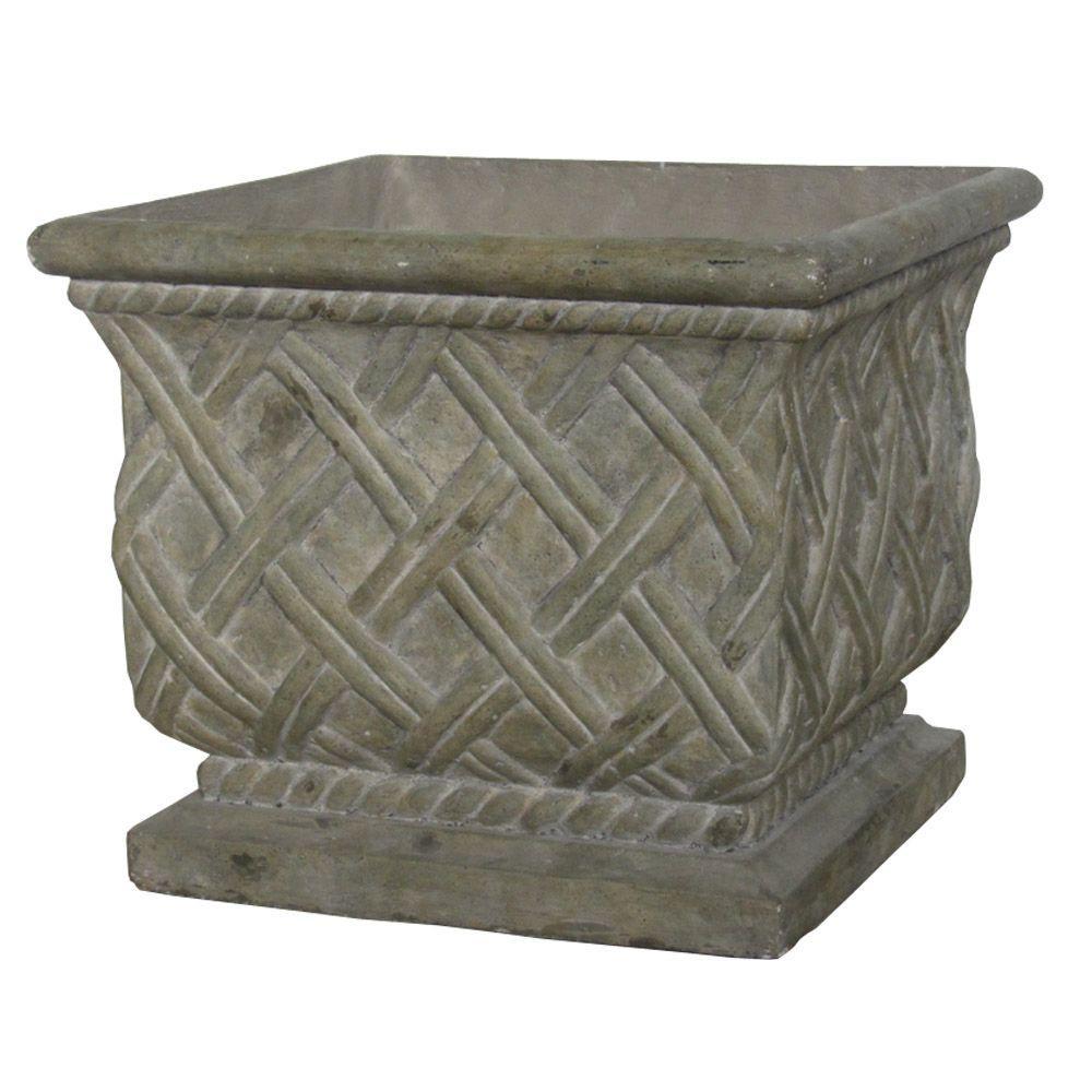 18 in. Square Old Stone Cast Stone Lattice Planter