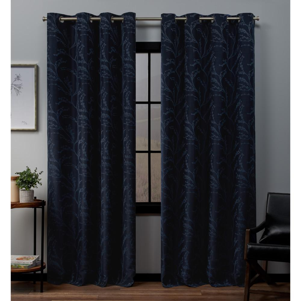 Exclusive Home Curtains Kilberry 52 in. W x 96 in. L Woven Blackout Grommet Top Curtain Panel in Peacoat (2 Panels)