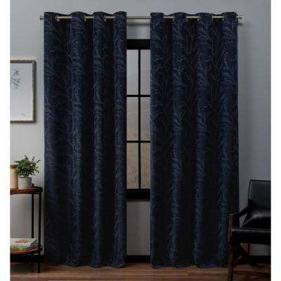 Kilberry 52 in. W x 96 in. L Woven Blackout Grommet Top Curtain Panel in Peacoat (2-Panel)