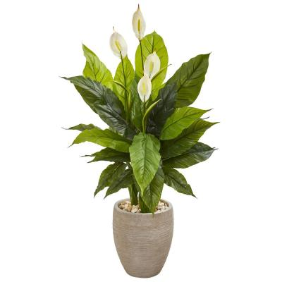 47 in. Spathiphyllum Artificial Plant in Sand Colored Planter (Real Touch)