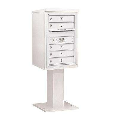 3400 Series 55-1/8 in. 7 Door High Unit White 4C Pedestal Mailbox with 5 MB1 Doors