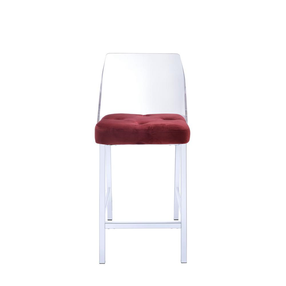 ACME Furniture Nadie II Chrome, Acrylic And Burgundy Velvet Counter Height  Chair