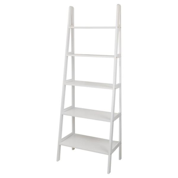 Casual Home White 5-Shelf Ladder Bookcase 176-51
