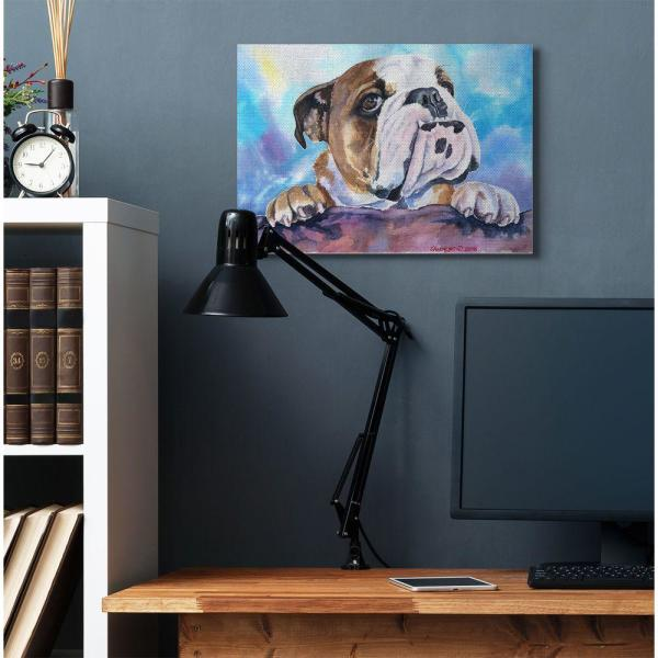 Stupell Industries 24 In X 30 In English Bulldog Dog Pet By George Dyachenko Canvas Wall Art Pwp 245 Cn 24x30 The Home Depot