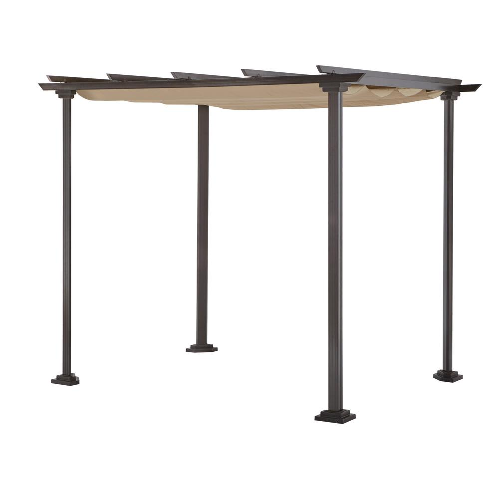 Hampton Bay Toulon 10 Ft X 8 Steel Pergola Gazebo With Flat Roof
