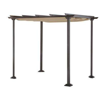 Toulon 10 ft. x 8 ft. Steel Pergola Gazebo with Flat Roof