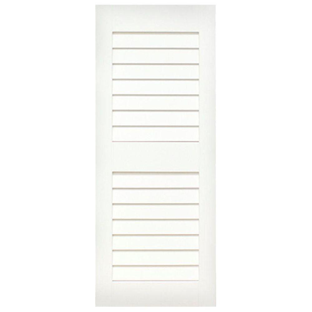 Home Fashion Technologies Plantation 14 in. x 72 in. Solid Wood Louvered Exterior Shutters Behr Ultra Pure White