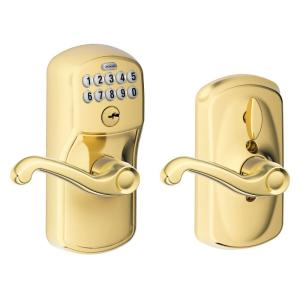 Schlage Flair Bright Brass Keypad Electronic Door Lever with Plymouth Trim Featuring Flex Lock by Schlage