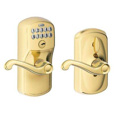 Flair Bright Brass Keypad Electronic Door Lever with Plymouth Trim Featuring Flex Lock