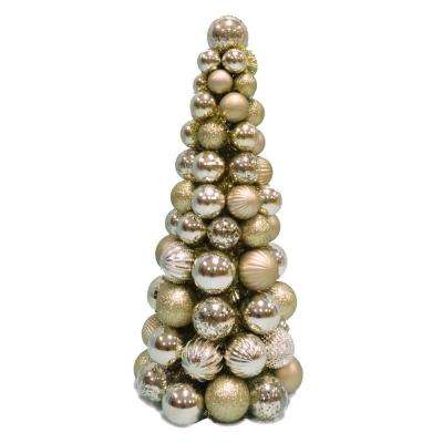 shatterproof ornament cone tree in gold - Christmas Tree Ornament