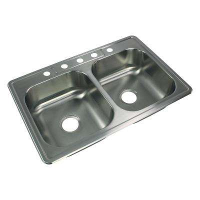Select Drop-In Stainless Steel 33 in. 5-Hole 50/50 Double Bowl Kitchen Sink in Brushed Stainless Steel
