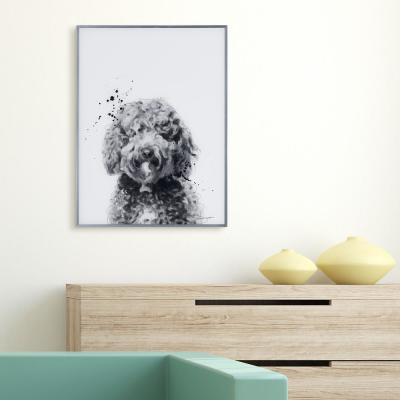 """""""Labradoodle"""" Black and White Dog Paintings on Reverse Printed Glass Framed Wall Art"""