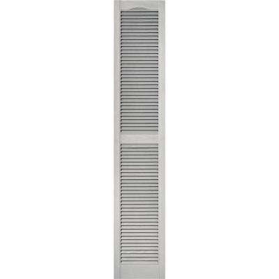 15 in. x 80 in. Louvered Vinyl Exterior Shutters Pair #030 Paintable