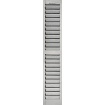 15 in. x 80 in. Louvered Vinyl Exterior Shutters Pair in #030 Paintable