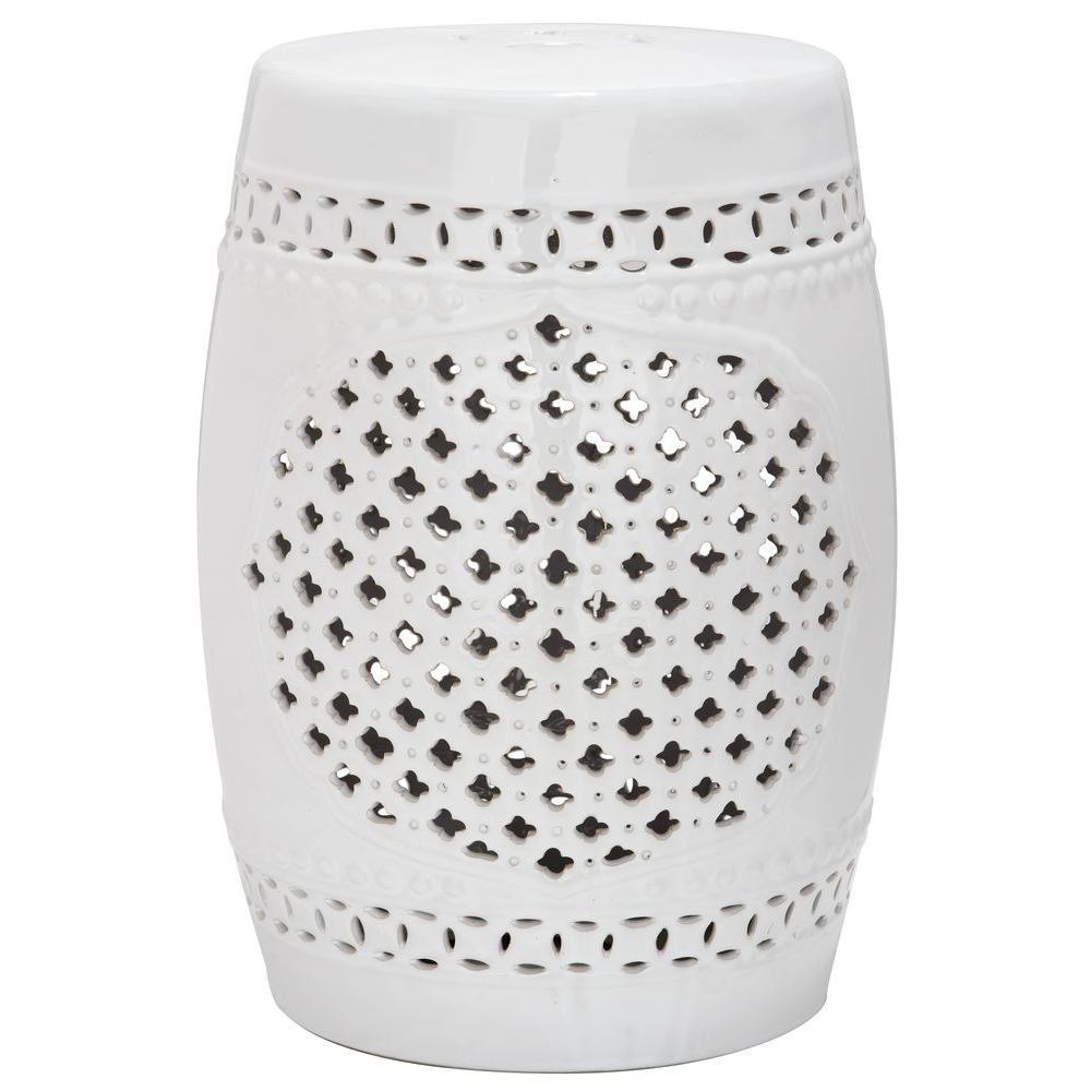 Quatrefoil White Ceramic Patio Stool