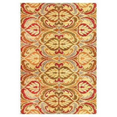 Tapestry Leaf Gold 7 ft. 10 in. x 9 ft. 10 in. Area Rug