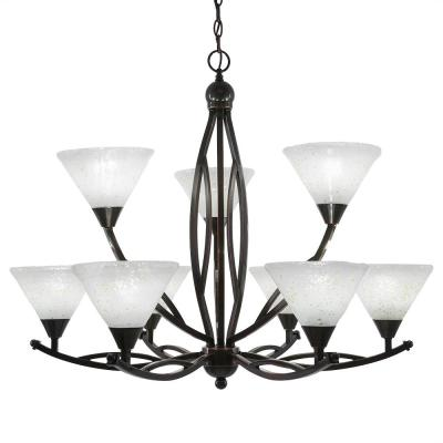 9-Light Black Copper Chandelier with 7 in. Gold Ice Glass