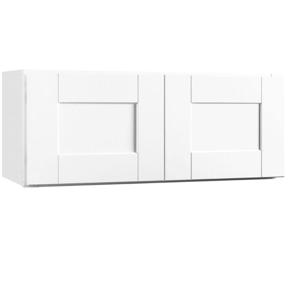 Shaker Assembled 30x12x12 in. Wall Bridge Kitchen Cabinet in Satin White