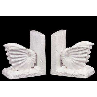 6.5 in. H Seashell Decorative Sculpture in White Gloss Finish (Set of 2)